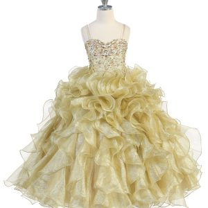 Girls Pageant Gown with Ruffled Skirt Metallic Bodice Gold