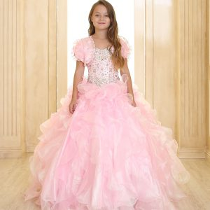 Girls Pageant Gown with Ruffled Skirt Pink Metallic Bodice