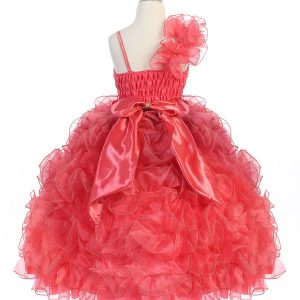 Girls Pageant Gown with Ruffled Skirt Single Shoulder Coral