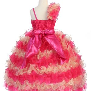 Girls Pageant Gown with Ruffled Skirt Single Shoulder Fuschia Gold