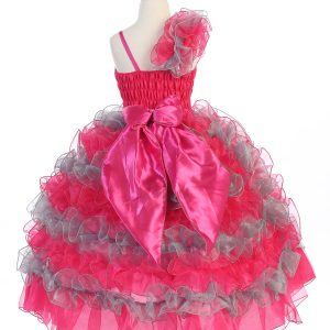 Girls Pageant Gown with Ruffled Skirt Single Shoulder Fuschia Silver