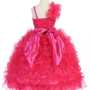 Girls Pageant Gown with Ruffled Skirt Single Shoulder Fushcia