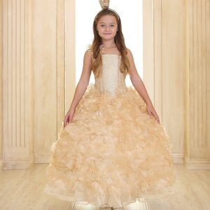 Girls Pageant Gown with Ruffled Skirt Single Shoulder Gold