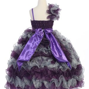 Girls Pageant Gown with Ruffled Skirt Single Shoulder Plum Silver