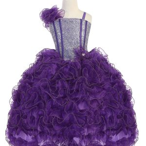 Girls Pageant Gown with Ruffled Skirt Single Shoulder Purple