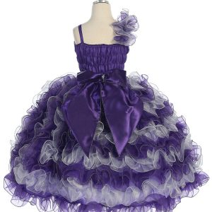 Girls Pageant Gown with Ruffled Skirt Single Shoulder Purple Silver