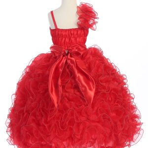 Girls Pageant Gown with Ruffled Skirt Single Shoulder Red