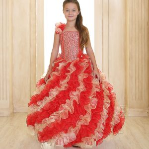 Girls Pageant Gown with Ruffled Skirt Single Shoulder Red Gold