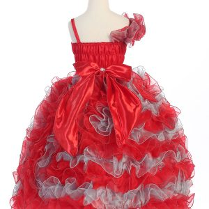Girls Pageant Gown with Ruffled Skirt Single Shoulder Red Silver