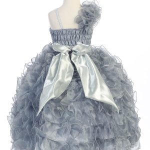 Girls Pageant Gown with Ruffled Skirt Single Shoulder Silver