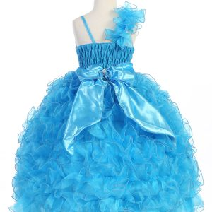 Girls Pageant Gown with Ruffled Skirt Single Shoulder Turquoise