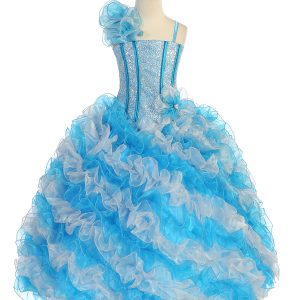 Girls Pageant Gown with Ruffled Skirt Single Shoulder Turquoise Silver
