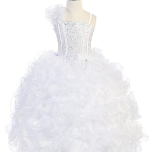 Girls Pageant Gown with Ruffled Skirt Single Shoulder White