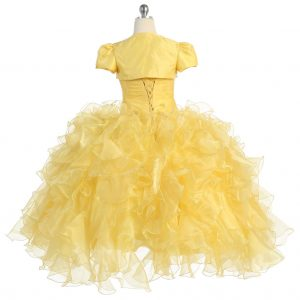 Girls Pageant Gown with Ruffled Skirt Yellow