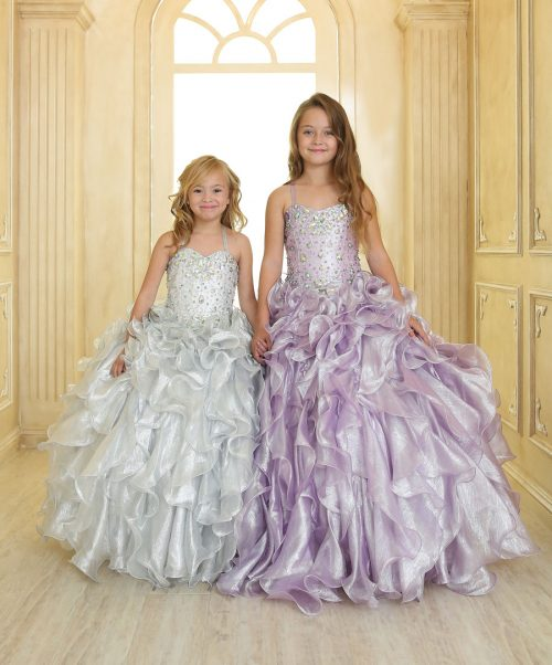 Girls Pageant Gown with Ruffled Skirt and Metallic Bodice