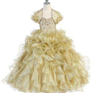 Girls Pageant Gown with Ruffled Skirt and Metallic Bodice Gold