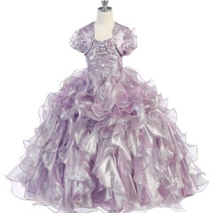 Girls Pageant Gown with Ruffled Skirt and Metallic Bodice Lilac