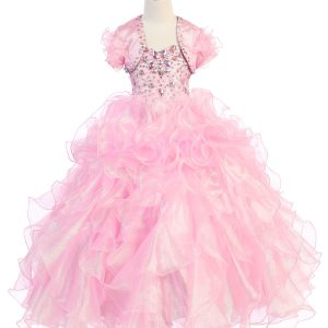 Girls Pageant Gown with Ruffled Skirt and Metallic Bodice Pink