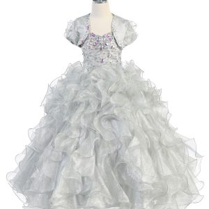 Girls Pageant Gown with Ruffled Skirt and Metallic Bodice Silver