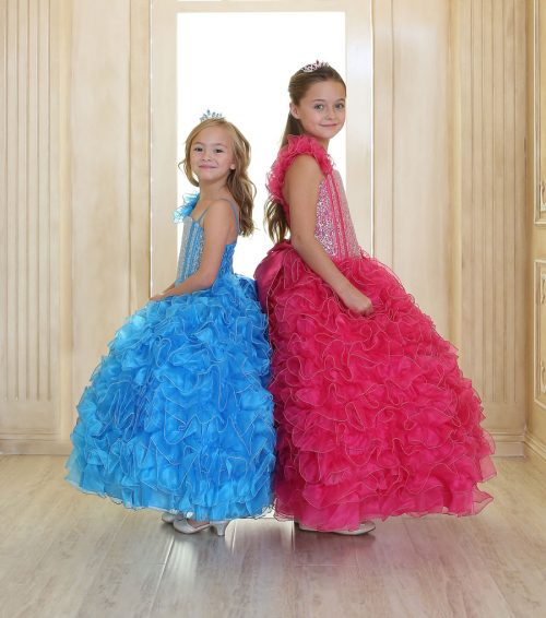 Girls Pageant Gown with Ruffled Skirt and Shoulder