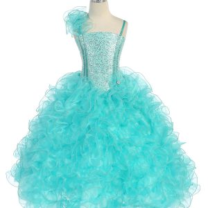 Girls Pageant Gown with Ruffled Skirt and Shoulder Aqua