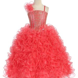 Girls Pageant Gown with Ruffled Skirt and Shoulder Coral