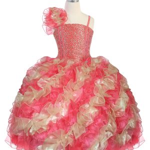 Girls Pageant Gown with Ruffled Skirt and Shoulder Coral Gold