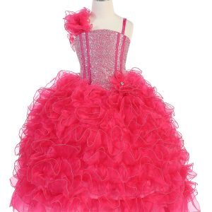 Girls Pageant Gown with Ruffled Skirt and Shoulder Fuschia