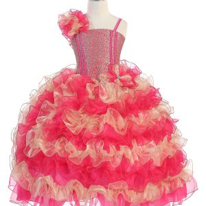 Girls Pageant Gown with Ruffled Skirt and Shoulder Fuschia Gold