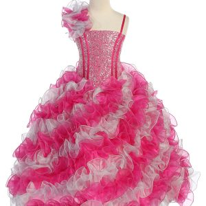 Girls Pageant Gown with Ruffled Skirt and Shoulder Fuschia Silver