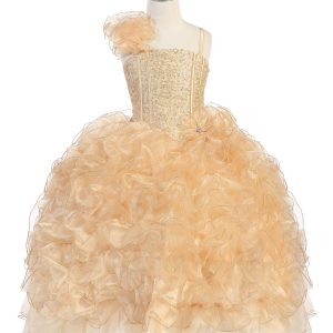 Girls Pageant Gown with Ruffled Skirt and Shoulder Gold