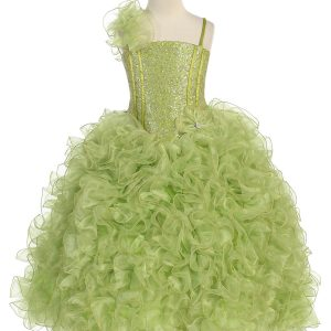 Girls Pageant Gown with Ruffled Skirt and Shoulder Lime