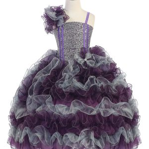 Girls Pageant Gown with Ruffled Skirt and Shoulder Plum Silver