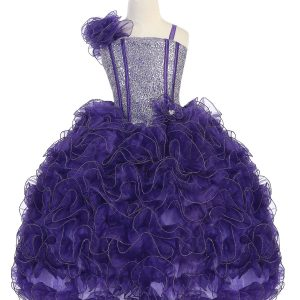 Girls Pageant Gown with Ruffled Skirt and Shoulder Purple