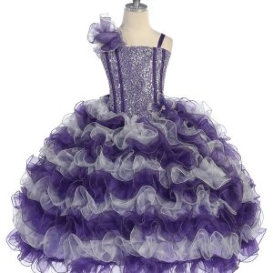 Girls Pageant Gown with Ruffled Skirt and Shoulder Purple Silver