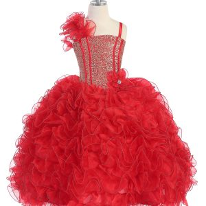 Girls Pageant Gown with Ruffled Skirt and Shoulder Red
