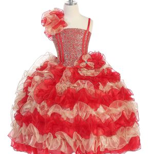 Girls Pageant Gown with Ruffled Skirt and Shoulder Red Gold