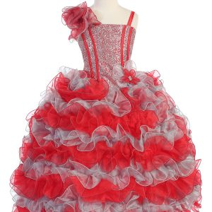 Girls Pageant Gown with Ruffled Skirt and Shoulder Red Silver