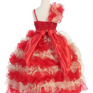 Girls Pageant Gown with Ruffled Skirt and Shoulder Red and Gold