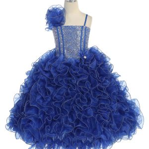 Girls Pageant Gown with Ruffled Skirt and Shoulder Royal blue