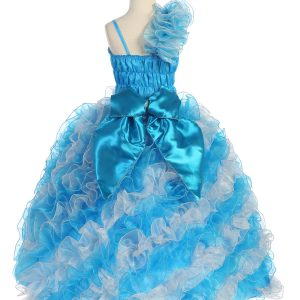 Girls Pageant Gown with Ruffled Skirt and Shoulder Silver Turquoise