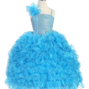 Girls Pageant Gown with Ruffled Skirt and Shoulder Turquoise
