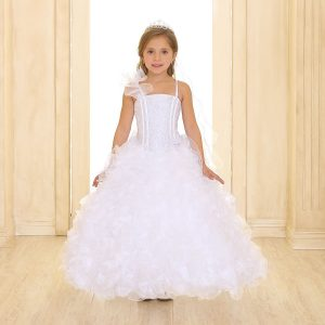 Girls Pageant Gown with Ruffled Skirt and Shoulder White