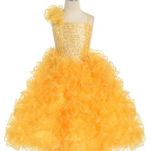 Girls Pageant Gown with Ruffled Skirt and Shoulder Yellow