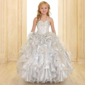 Girls Pageant Gown with Ruffled Skirt and Silver Metallic Bodice