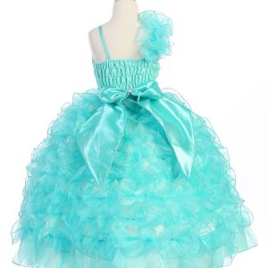 Girls Pageant Gown with Ruffled Skirt and Single Shoulder Aqua