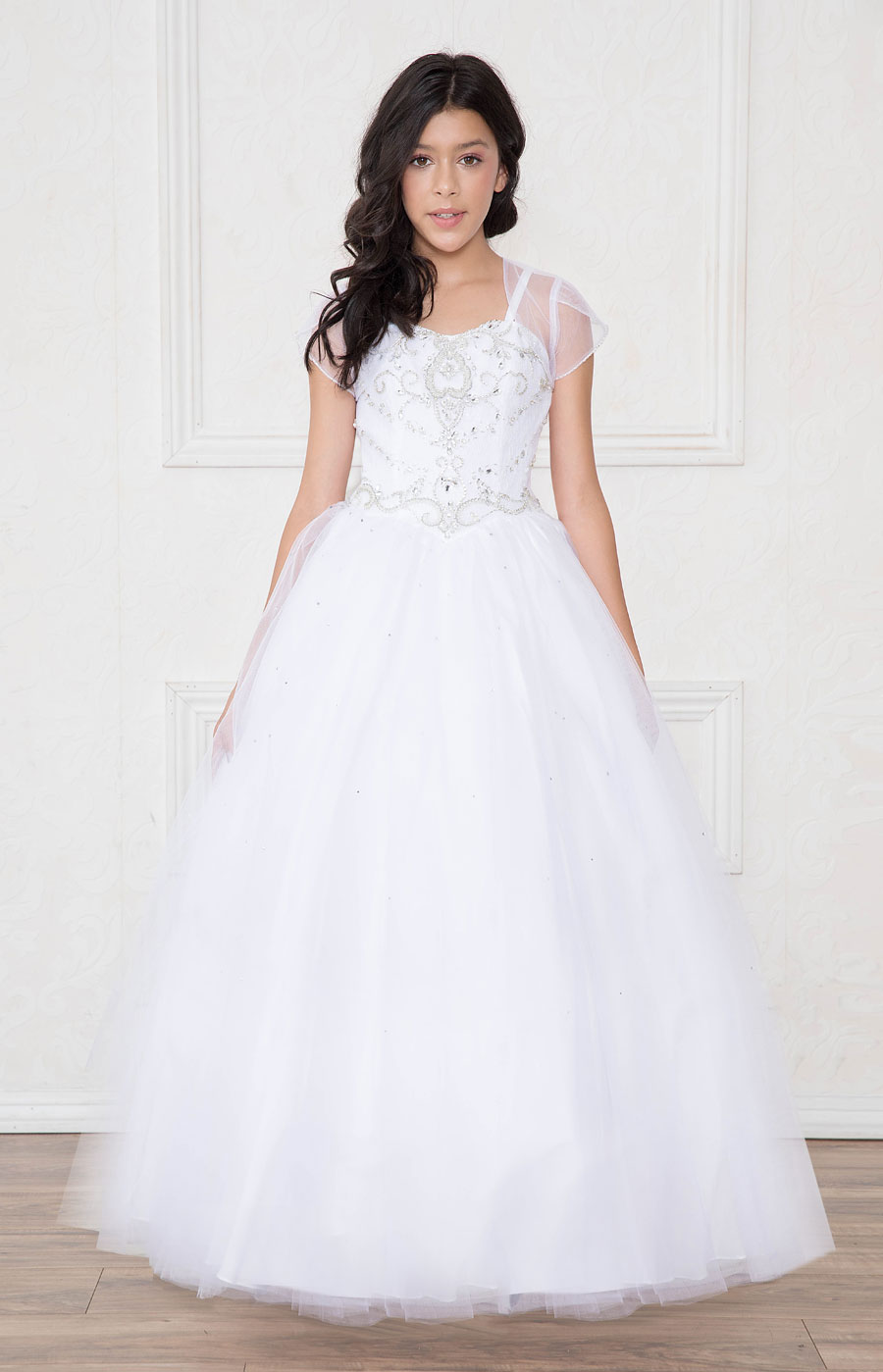 Girls Pageant or Communion Dress with Rhinestone Bodice White