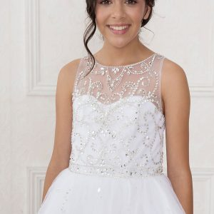 Girls Pageant or Communion Gown Rhinestone Patten Long Length White