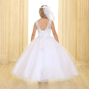 Girls Pageant or Communion Gown Tulle with Lace Accents
