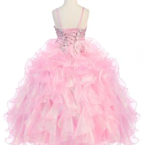 Girls Pink Pageant Gown with Ruffled Skirt and Metallic Bodice